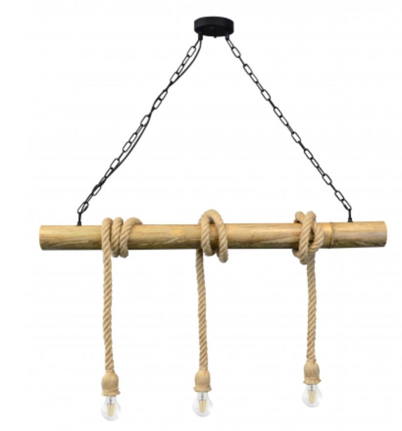 Lampa suspendată loft șir de lenjerie din bambus vintage