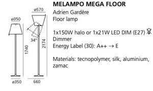 Lampa de podea Artemide MELAMPO Mega aluminiu gri small 1