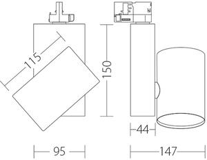 Spot KOR Quattrobi 17W 3000K CRI 93 compatibil cu trunchiurile Stucchi small 1
