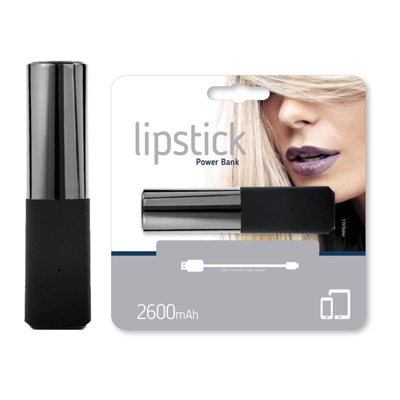Power Bank Lipstik 2600mAh argintiu / negru