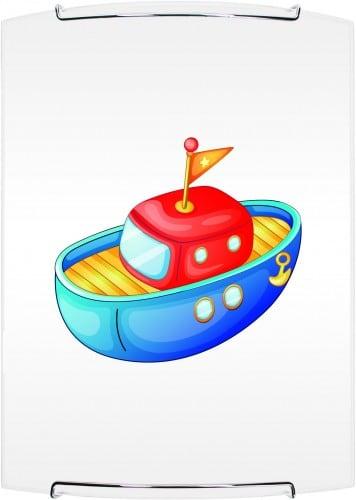 Lampa pentru un copil. Boat - lampă de perete Barcă albă / cromă E27 60W