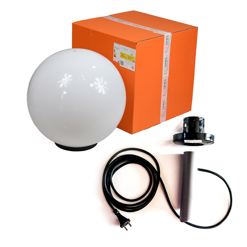 Ball Decorative White Gloss - Luna Ball 50 cm cu kit de asamblare, cablu 3m, post de fixare