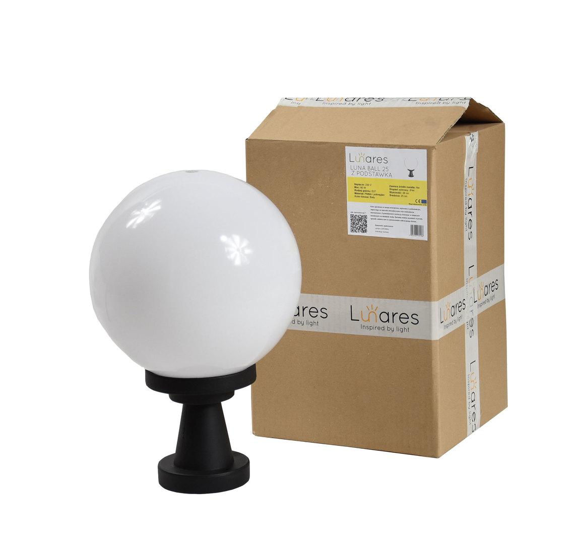 Lampă de grădină Luna Ball Plinto 25 cm E27 LED alb alb