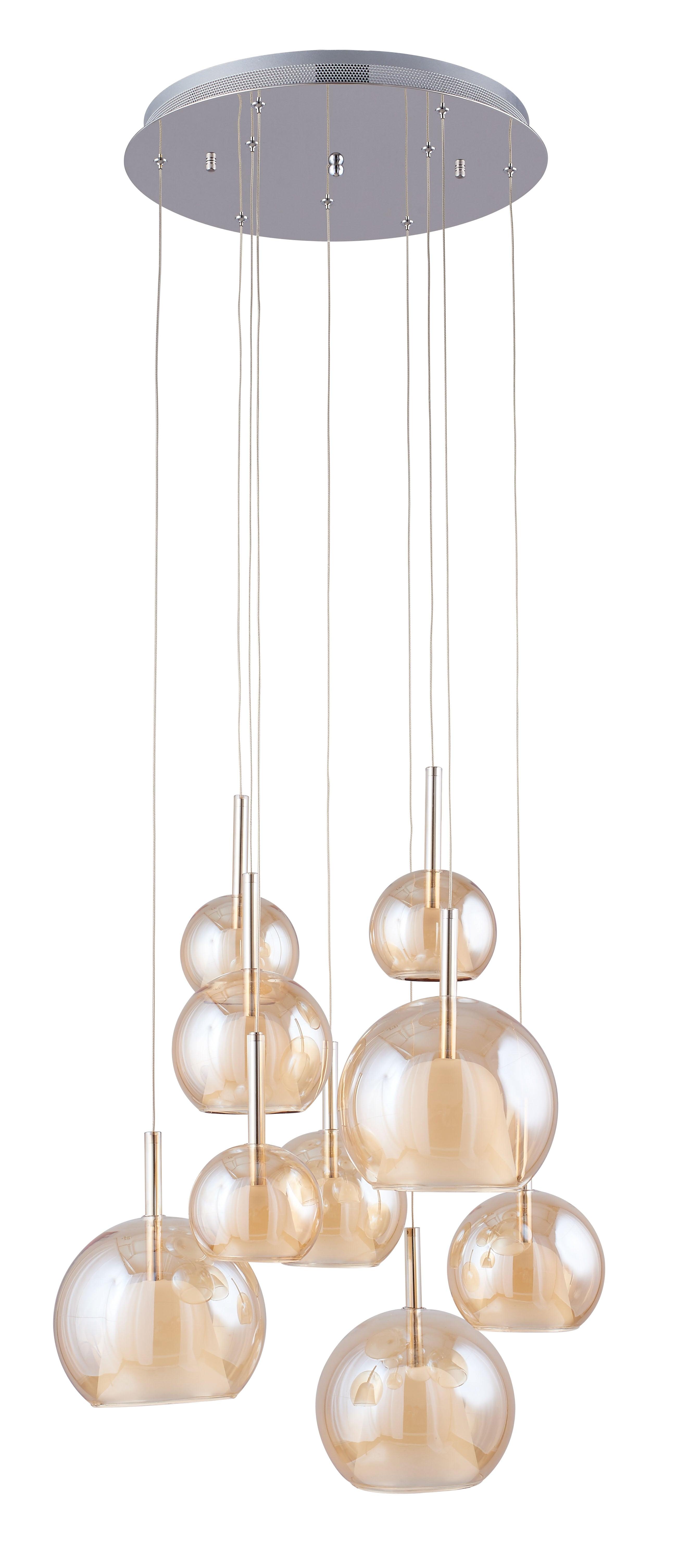 Lampă cu pandantiv Bellissima crom / Champagne G4 20W cu nouă puncte
