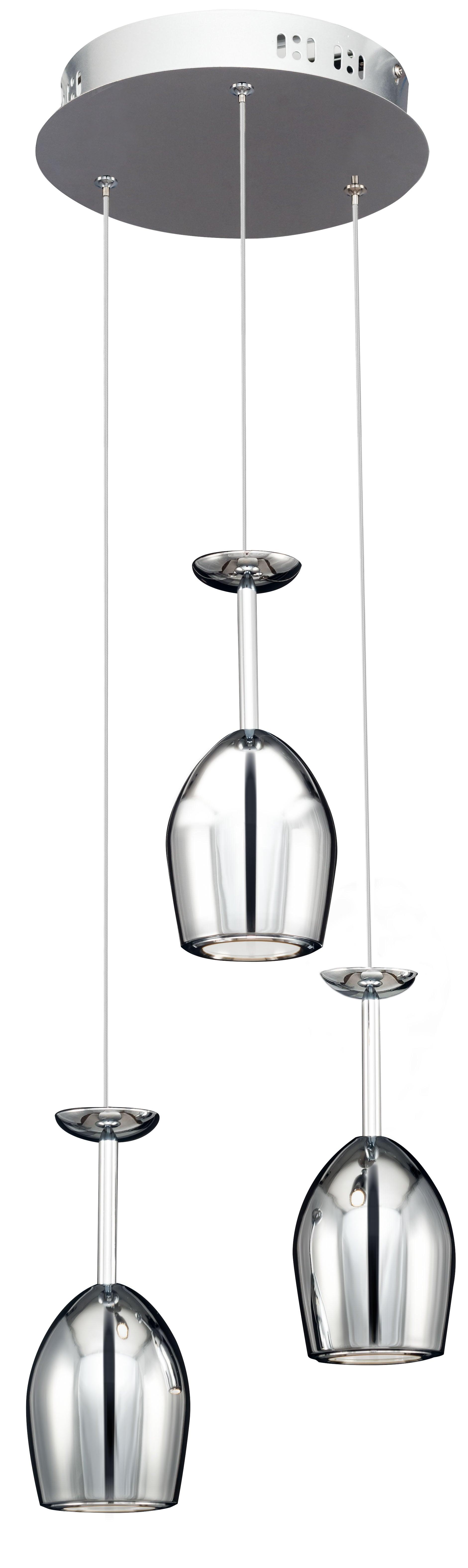 Tripla lampă modernă suspendată Merlot crom LED 5W