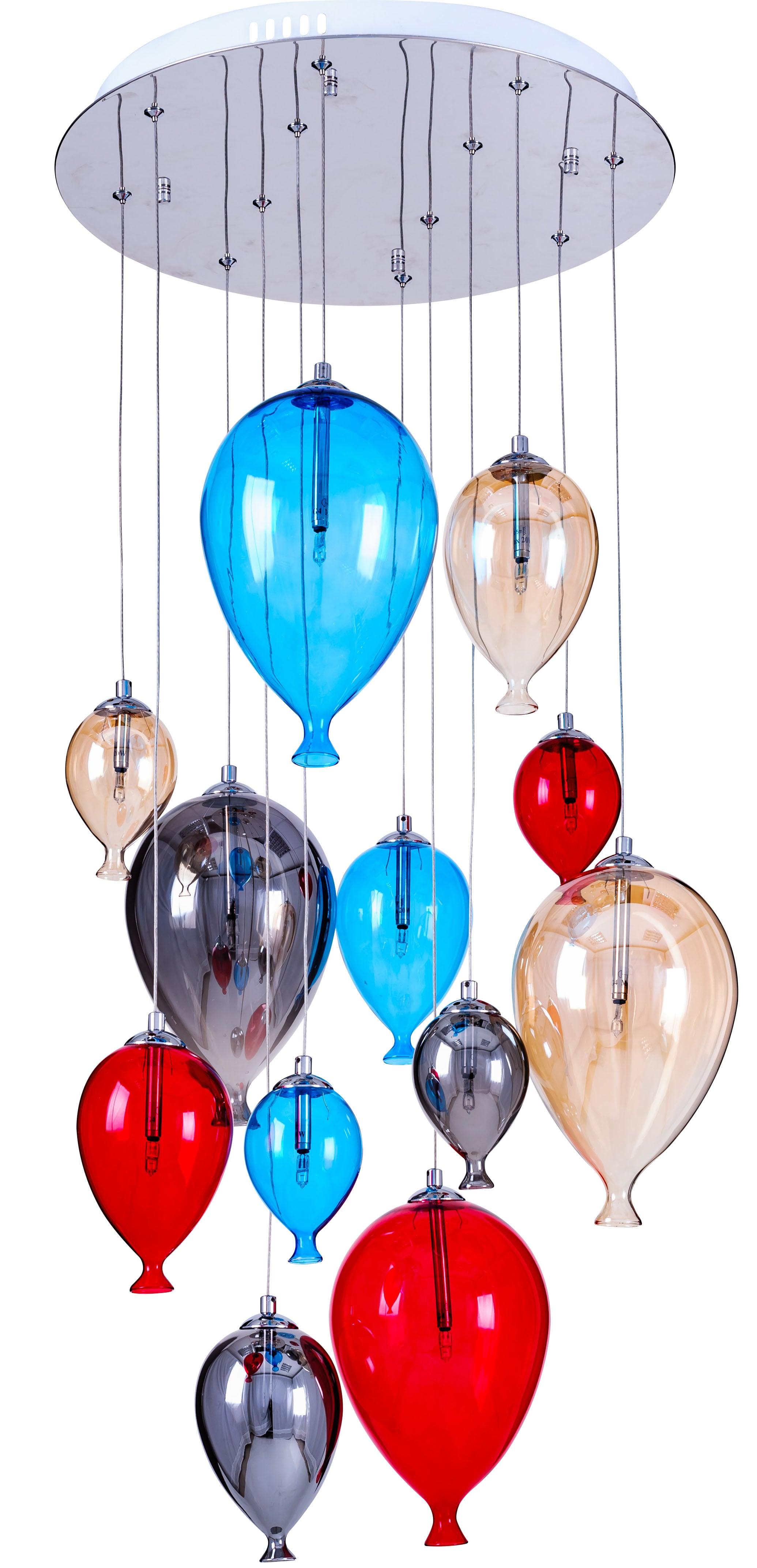 Lampa suspendată pentru baloane pentru copii - Balon multicolor 160cm / 45cm 12xG4 20W