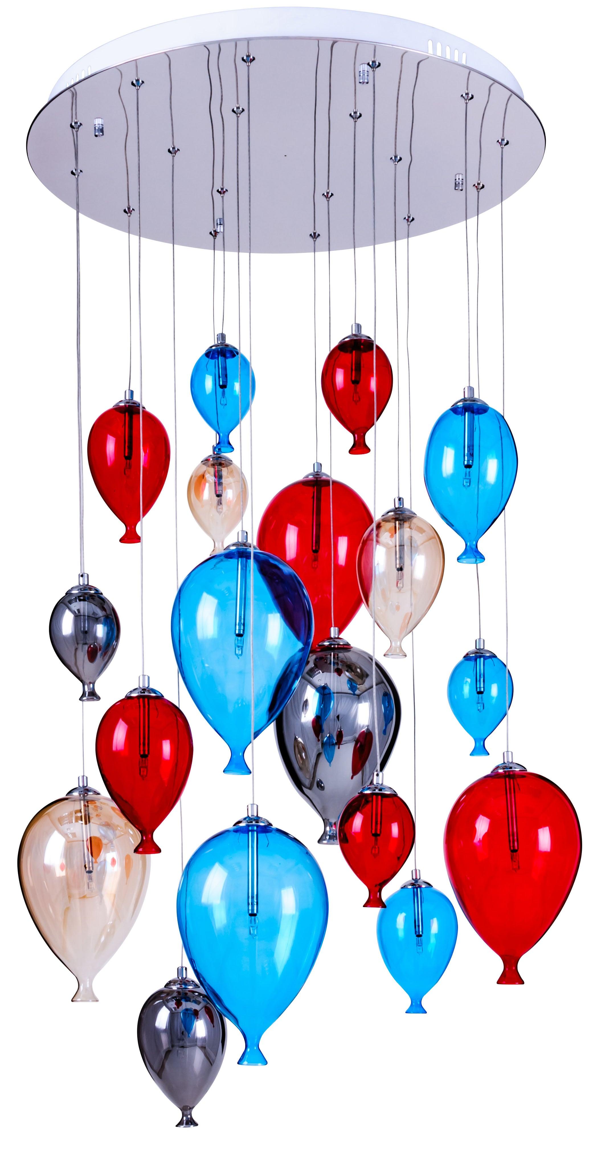 Lampa cu balon suspendată pentru copii în opt puncte - Balon multicolor 160cm / 60cm 18xG4 20W