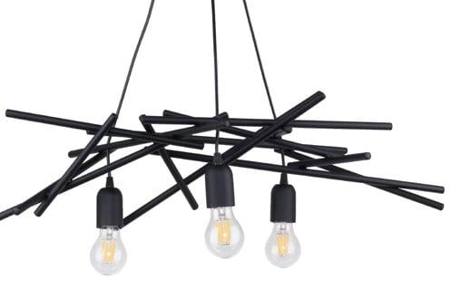 Lampa suspendată industrială în trei puncte Glenn negru E27 60W