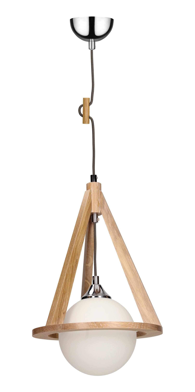 Dębowa lampa wisząca Konan dąb / chrom / antracit E27 60W