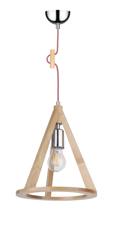 Lampa wisząca brzoza / crom / roșu și alb E27 60W