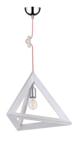 Lampa suspendată Trigonon dąb bielony / crom / roșu și alb E27 60W