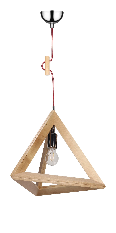Lampa suspendată Trigonon brzoza / crom / roșu și alb E27 60W