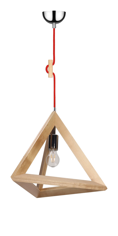 Lampa suspendată Trigonon brzoza / crom / roșu E27 60W