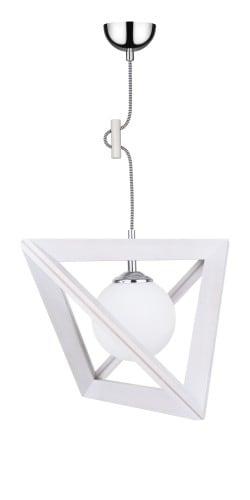 Lampa suspendată Kula Trigonon dąb bielony / crom / alb-negru E27 60W