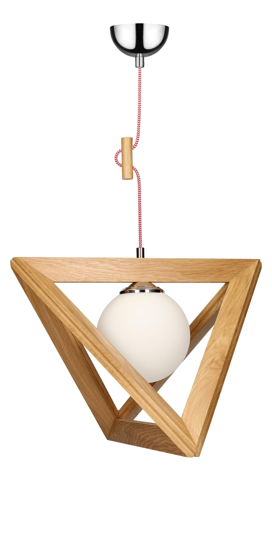 Lampa suspendată stejar Trigonon / crom / roșu și alb E27 60W