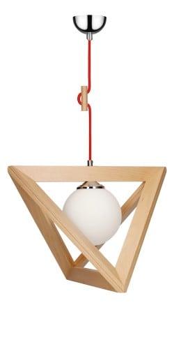 Lampa suspendată Trigonon buk / crom / roșu E27 60W