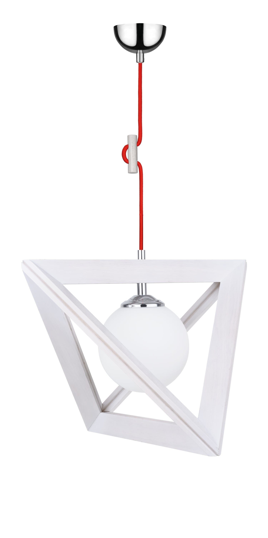 Lampa suspendată Trigonon dąb bielony / chrom / red E27 60W