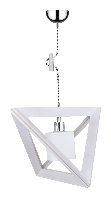 Lampa wisząca Sześcian Trigonon dąb bielony / crom / alb-negru E27 60W