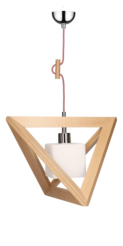 Lampă cu pandantiv TRIGONON din lemn, nuanță albă, 1261531