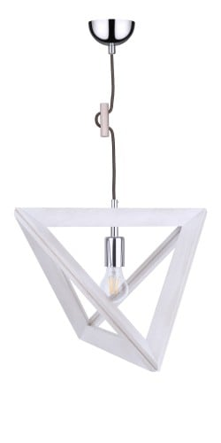 Lampa suspendată Trigonon dąb bielony / chrom / antracite E27 60W