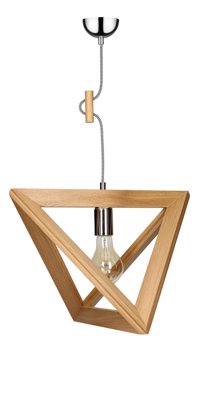 Lampa suspendată stejar Trigonon / crom / alb-negru E27 60W