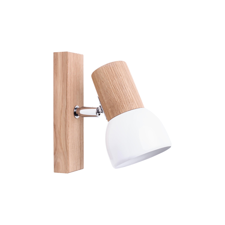 Lampă de perete Svenda dąb olejowany / crom / alb E27 60W