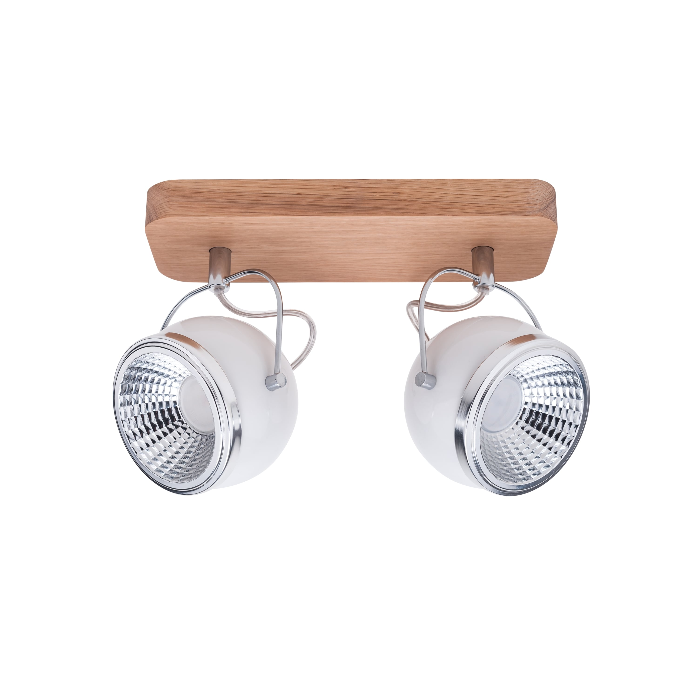 Spot cu bandă spot 2 Ball Lemn de stejar / crom / LED LED GU10 5,5W