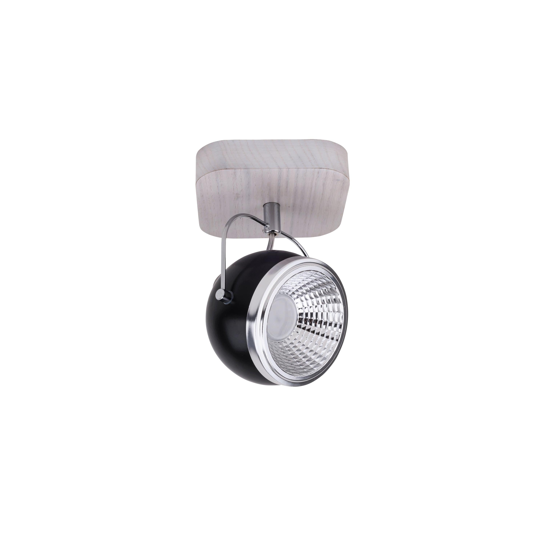 Lampă de perete Ball Wood stejar alb alb / crom / negru LED GU10 5,5W