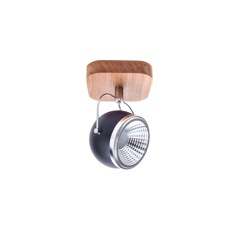 Lampă de perete Ball Wood stejar ulei / crom / negru LED GU10 5,5W
