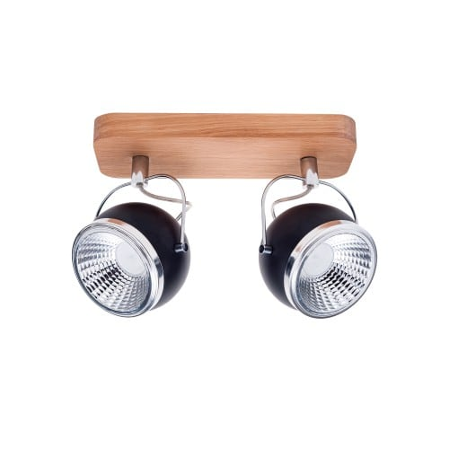 Spot cu dungi 2 becuri Ball Lemn de stejar / crom / negru LED GU10 5,5W