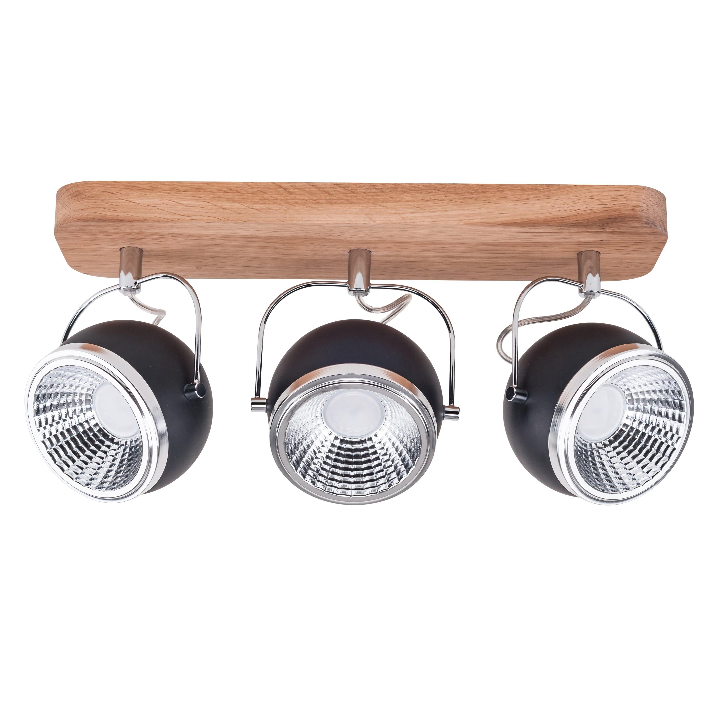 Spot cu dungi 3 becuri Ball Wood ulei de stejar / crom / negru LED GU10 5,5W