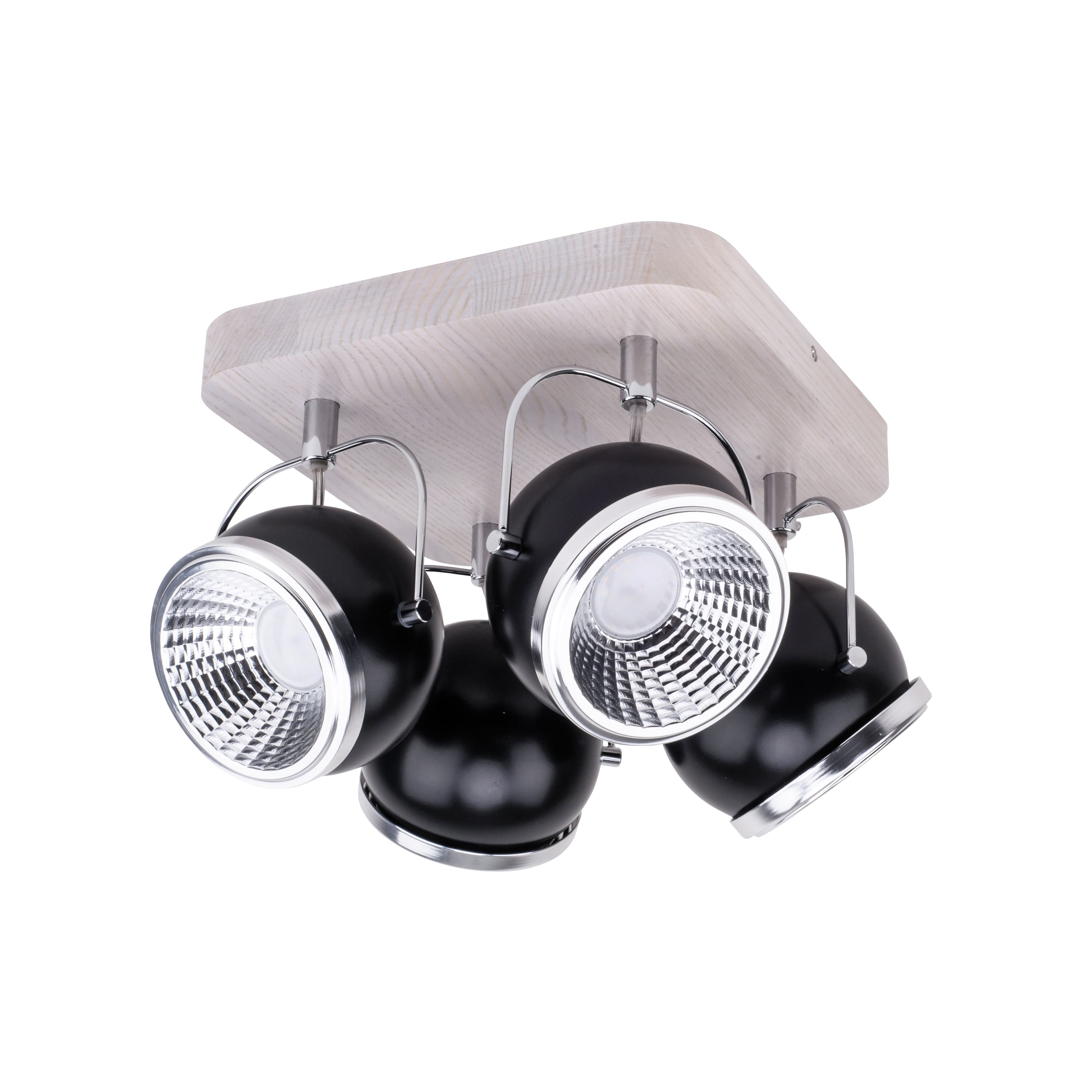 Plafon Ball Wood dąb bielony / crom / LED negru GU10 5,5W