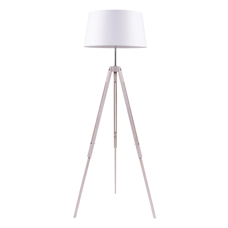 Lampa de podea Tripod dąb bielony / crom / alb E27 60W