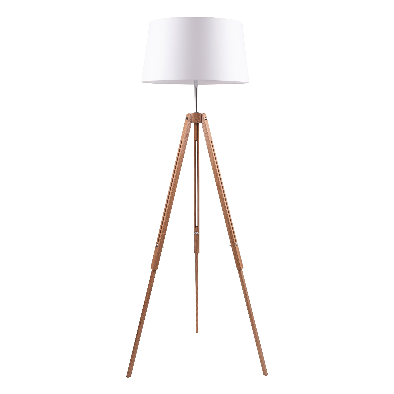 Lampa de podea stejar trepied / crom / alb E27 60W