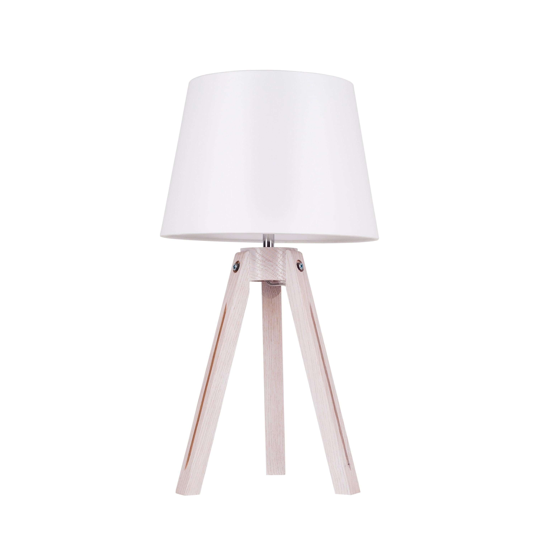Lampa de masă Trepied dąb bielony / crom / alb E27 60W