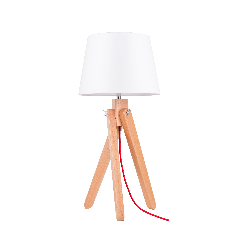 Lampa de masă Rune buk / roșu / alb E27 60W