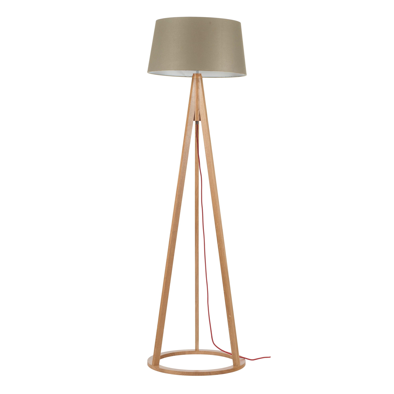 Lampă de podea Konan stejar / roșu / gri-maro E27 60W