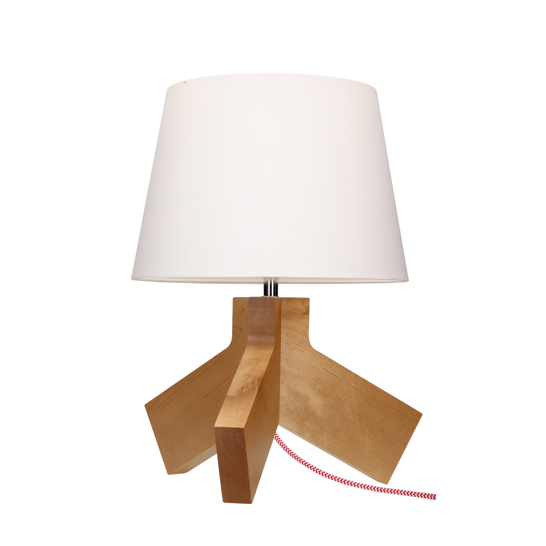 Lampa de masă Tilda brzoza / crom / roșu-alb / alb E27 60W