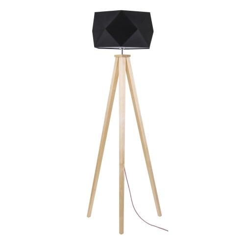 Lampa de podea din lemn cu o nuanță neagră