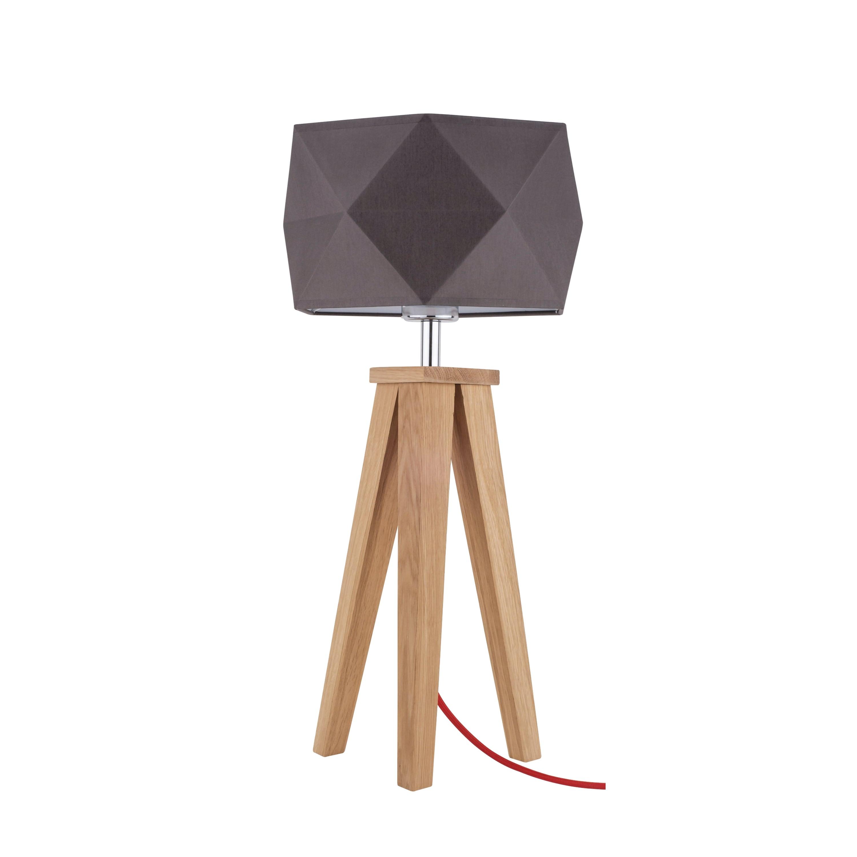 Lampa de masă Finja stejar / roșu / gri-maro E27 60W