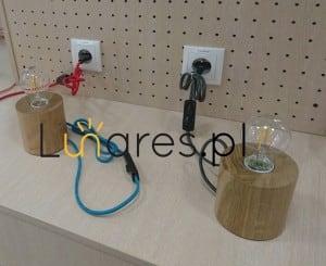 Lampa de masă Trongo din fag de diferite culori ale cablului E27 60W small 6