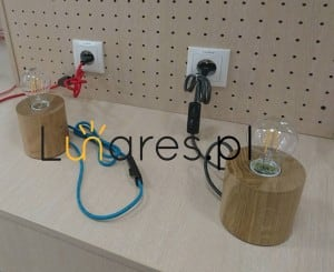 Lampa de masă stejar Trongo / antracit E27 60W small 1