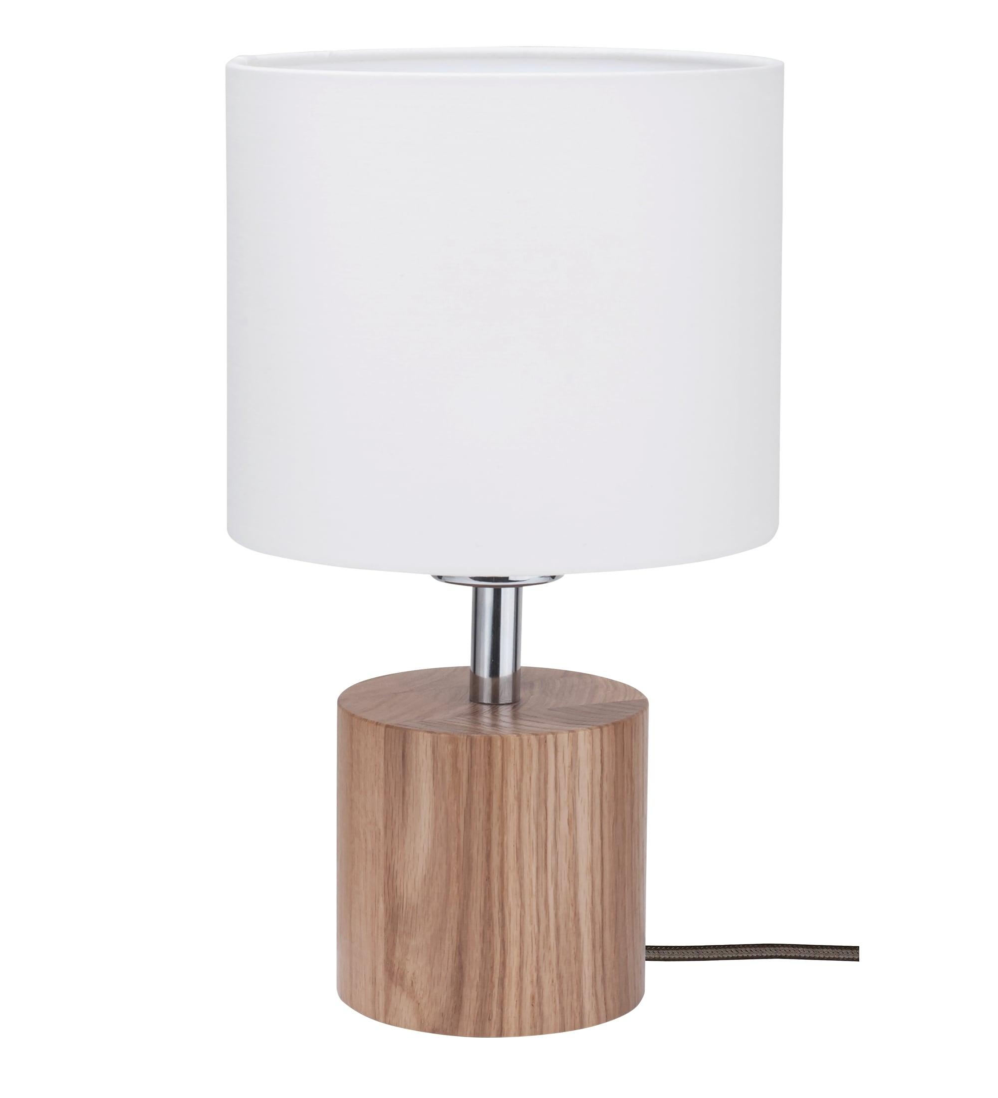 Lampa de masă Trongo stejar culori diferite alb cablu E27 60W