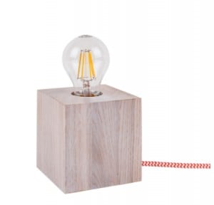 Lampa de masă stejar decolorat Trongo diferite culori ale cablului E27 60W small 5