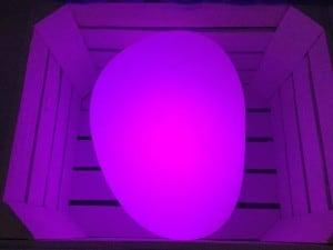 Lampa solară - Sferă aplatizată ouă de piatră LED RGB colorat small 4