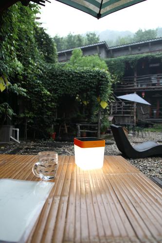 Lampa solara de exterior Lutec TABLE CUBE portocaliu