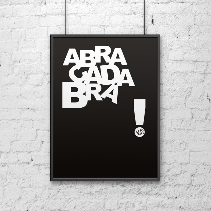 Poster decorativ 50x70 cm ABRACADABRA negru