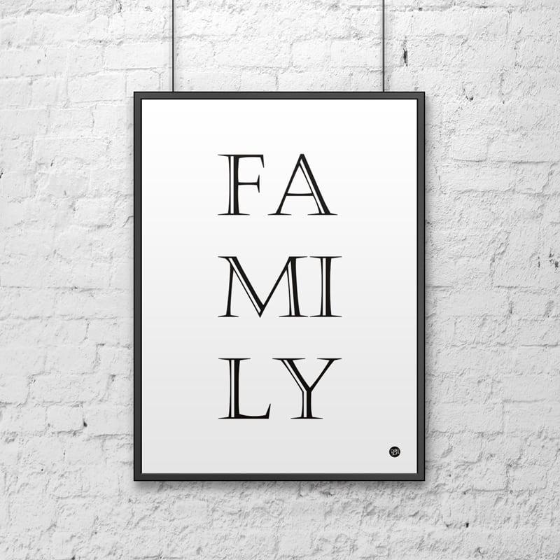 Poster decorativ 50x70 cm FAMILIE alb