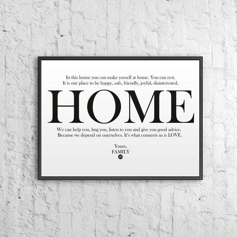 Poster decorativ 50x70 cm HOME alb