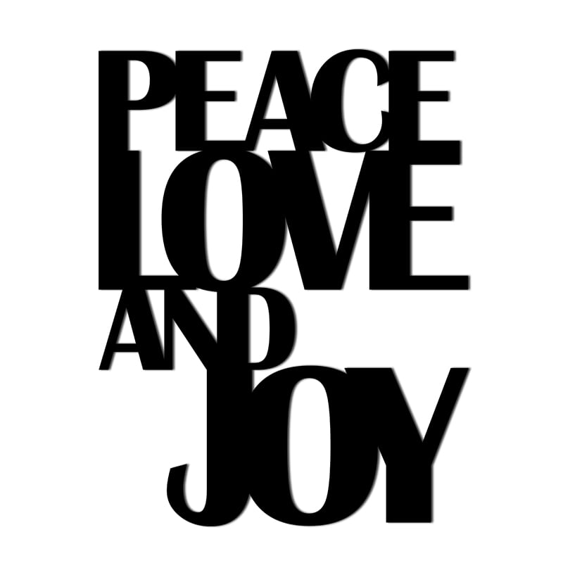 O inscripție vintage pe peretele PEACE LOVE AND JOY